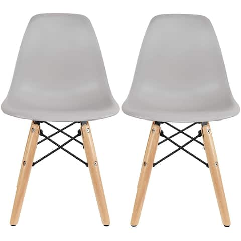 2xhome Set of 2 Light Grey Modern Kids Toddler Size Molded Plastic Armless Chair for Children's Room Natural Wood Eiffel Legs