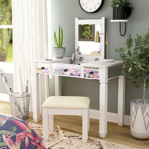 Furniture of America Allison White 2-piece Wood Vanity Table Set