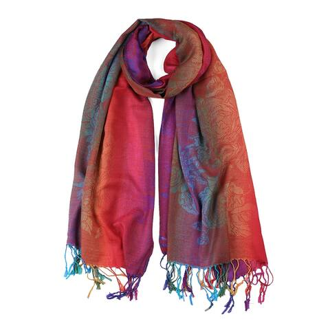 Soft Tassel Wrap Wrap Multi-Color Floral Gradient Color Scarf - Fuchsia