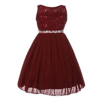 Girls Burgundy Sparkle Sequin Lace Chiffon Junior Bridesmaid Dress