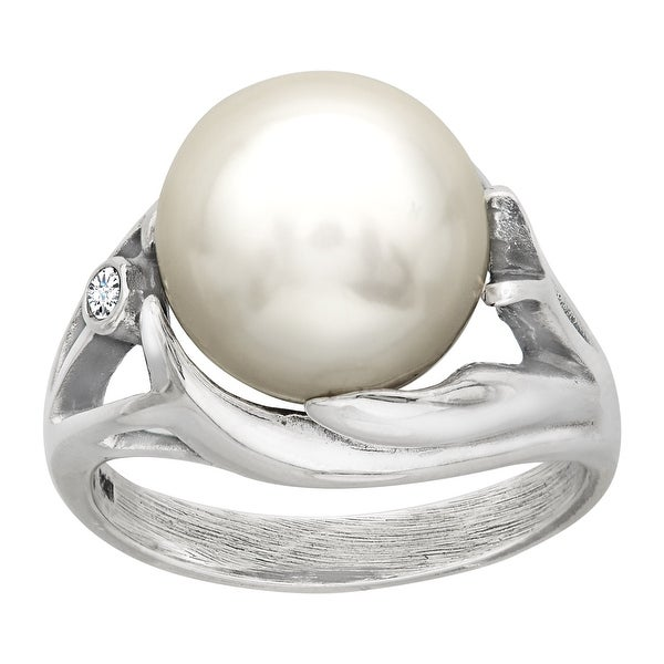 Van Kempen Victorian Pearl Ring with Swarovski Elements Crystals in Sterling Silver