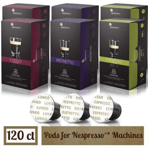 Barista Moments Capsules For Nespresso Machines - 120 ct Coffee Variety - Compatible Pods - Espresso, Lungo, Ristretto