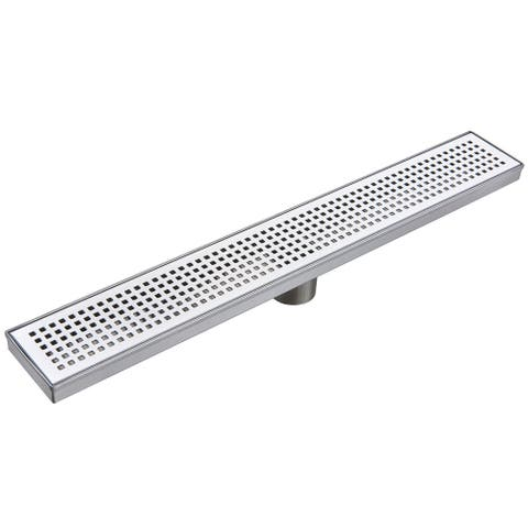 "Miseno MLND-60 60'' Pattern Grate Linear Shower Drain with 2"" Outlet - Stainless Steel"