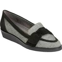 Aerosoles Women's Sidewalk Loafer Black Combo Tweed Fabric/Suede