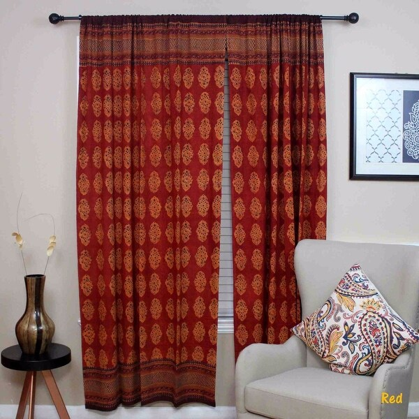 Handmade 100% Cotton Kensington Hand Block Print Curtain Drape Door Panel in Gold & Red - 44 inches x 88 inches. Opens flyout.