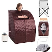 Costway Portable 2L Steam Sauna Spa Full Body Slimming Loss Weight Detox Therapy w/Chair - brown