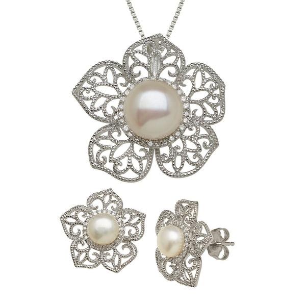 Freshwater Pearl & 1/4 ct Diamond Flower Pendant & Earring Set in Sterling Silver