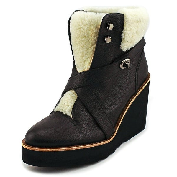Coach Kenna Plsh Women  Round Toe Leather Black Ankle Boot