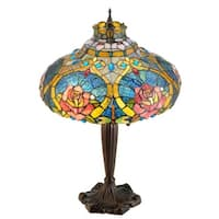 "Meyda Tiffany 138108 Dragonfly Rose 2-Light 26"" Tall Hand-Crafted Table Lamp with Stained Glass - Mahogany Bronze - n/a"