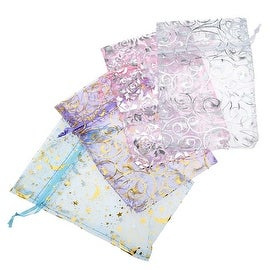 Assorted Silver & Gold Design Organza Drawstring Gift Bags 4 x 6 Inch (12 Bags)