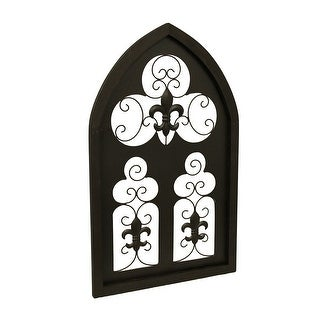 Brown Wood & Metal Fleur De Lis Decorative Arched Wall Hanging 32 in.