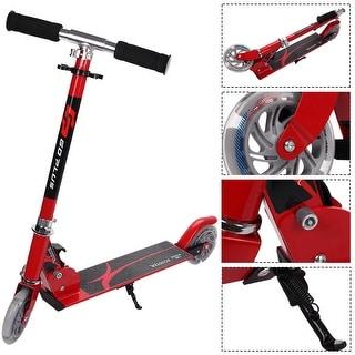 Goplus Red Folding Aluminum 2 Wheel Kids Kick Scooter Adjustable Height LED Light Up