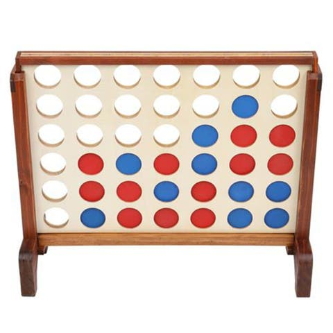 Giant Wooden 4 in a Row Game with Storage Bag, Family Game Fun