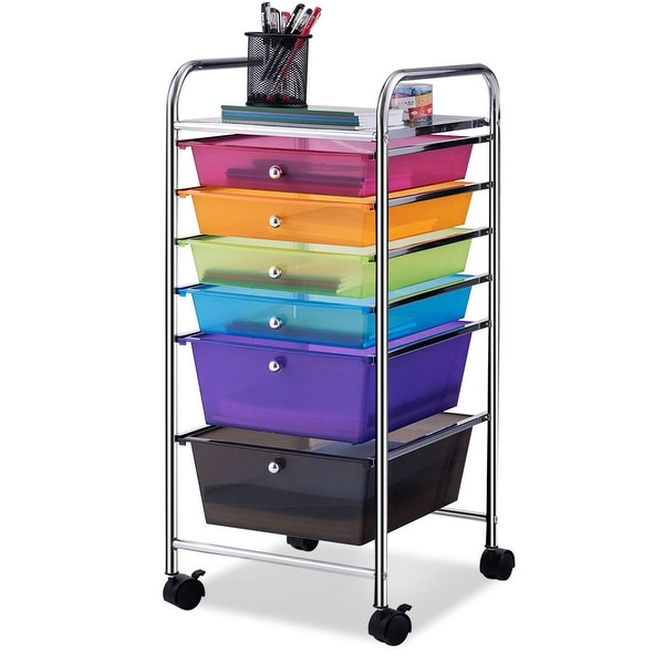 Costway 6 Drawer Rolling Storage Cart Tools Scrapbook Paper Office School Organizer - colorful