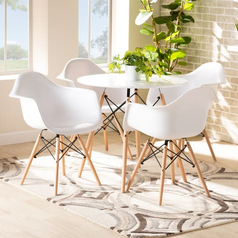 Galen Modern and Contemporary Plastic and Wood Dining Set (5pc)