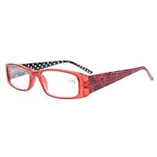 Eyekepper Spring Hinges Polka Dots Temples Rectangular Reading Glasses Red +2.0