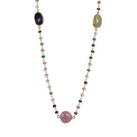 Sterling Silver Multi Sapphire Necklace with 36 inch Chain