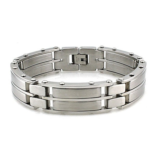 Men's Stainless Steel Wide Link Brushed and Polished Bracelet (17mm Wide) - 8.5 Inches