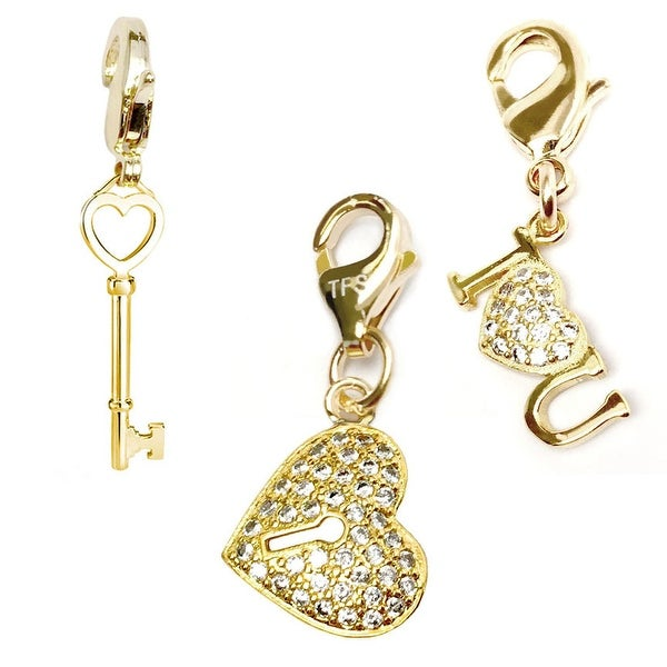 Julieta Jewelry Heart Lock, Key To My Heart, I Heart U 14k Gold Over Sterling Silver Clip-On Charm Set