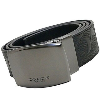 Coach Plaque Cut to Size Reversible Signature Crossgrain Leather Belt, Black/Black F12026