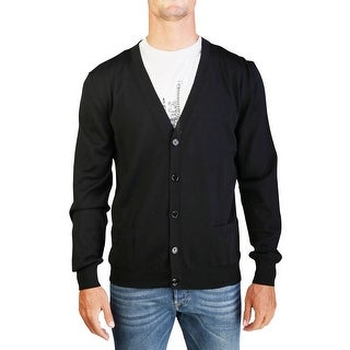 Dior Homme Men's Virgin Wool Buttoned Cardigan Sweater Black