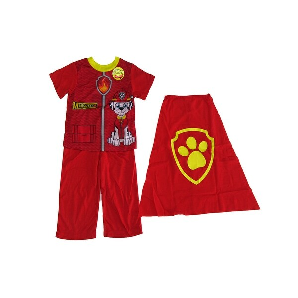 Nickelodeon Little Boys Red Marshall Detachable Cape 3 Pc Pajama Set