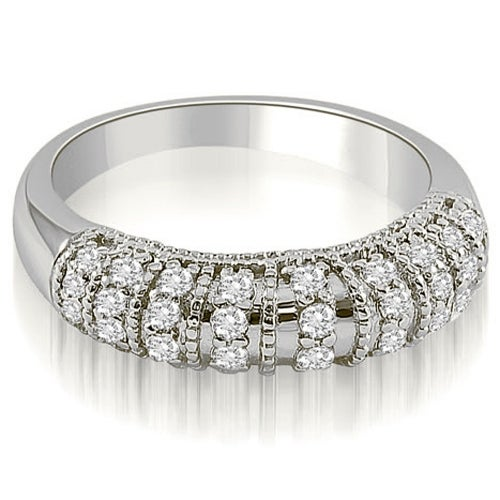 0.45 cttw. 14K White Gold Antique Style Milgrain Round Cut Diamond Wedding Ring