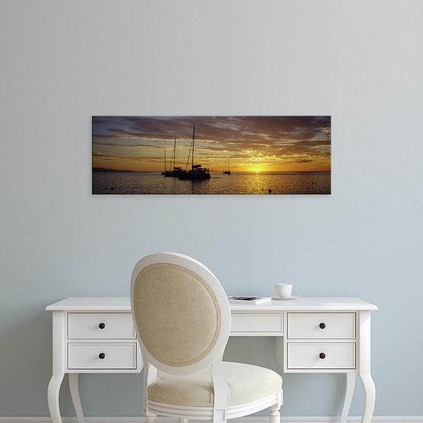 Easy Art Prints Panoramic Images's 'Silhouette of sailboats in the sea at sunset, Tahiti, French Polynesia' Canvas Art