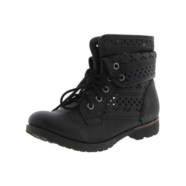 Rock and Candy by Zigi Womens Laser Cut Combat Boots Faux Leather Fold Over