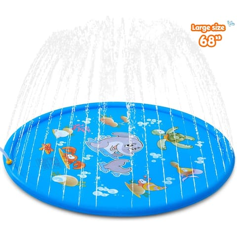 Splash Pad, and Wading Pool, Sprinkler Pool for Kids, 68 inch Inflatable Water Toys - 68''