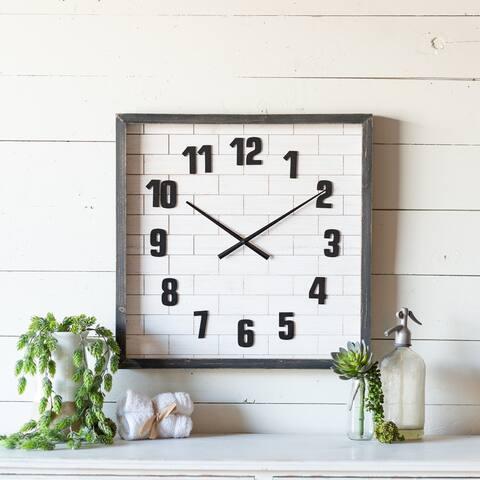 23.5 inch - Square Wood Wall Clock - 2.25 x 23.5 x 23.5