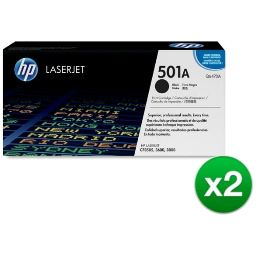 HP 501A Black Original LaserJet Toner Cartridge for US Government (Q6470A)(2-Pack)