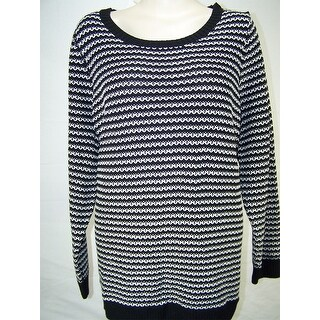 Charter Club Striped Sweater. Deep Black, XS - Black