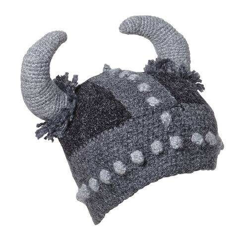 Unisex Adult Fun Thor Viking Hat - Hand Knit with Viking Horns - Gray - One Size