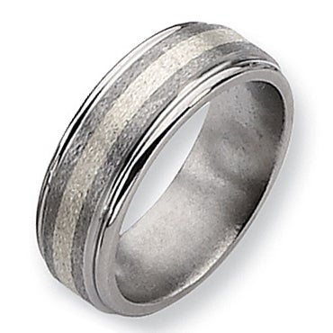 Chisel Sterling Silver Center Grooved Edge Titanium Ring (8.0 mm)
