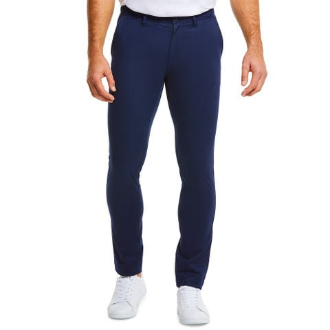 Lacoste Mens Chino Pant Navy Blue US 40x32 FR 50 Regular Fit Flat Front