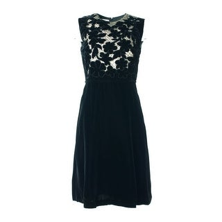 Valentino Black Embellished Velvet Dress