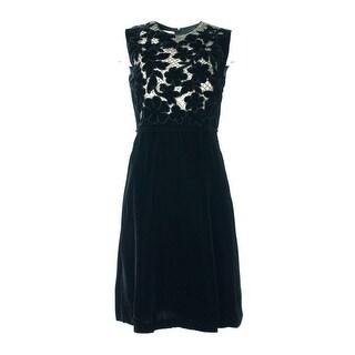 Valentino Black Embellished Velvet Dress