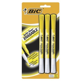 BIC Brite Liner Erasable Highlighter, Yellow, Pack of 3