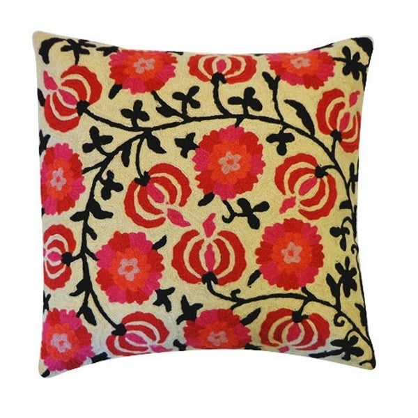 Vivai Home Pink Floral Embroidered Square 16x 16 Cotton Feather Pillow