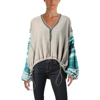 Free People Womens Reminiscent Pullover Sweater Printed Drawstring