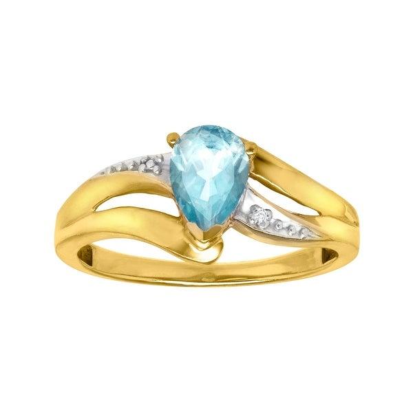 5/8 ct Aquamarine Ring with Diamond in 10K Gold - Blue