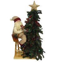 """32"""" Rustic Lodge Battery Operated Lighted Santa Decorating Christmas Tree Figure - RED"""