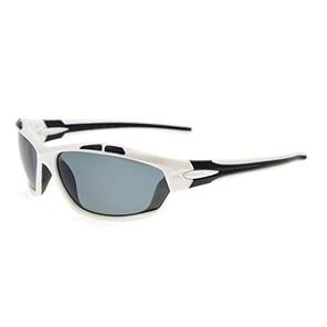 Eyekepper Polycarbonate Polarized Sport Sunglasses Running Fishing Driving TR90 Unbreakable White Frame Grey Lens