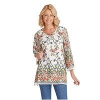 Women's Embroidered Long Fit Tunic Top - Long Sleeved Scoop Neck Sheer Blouse