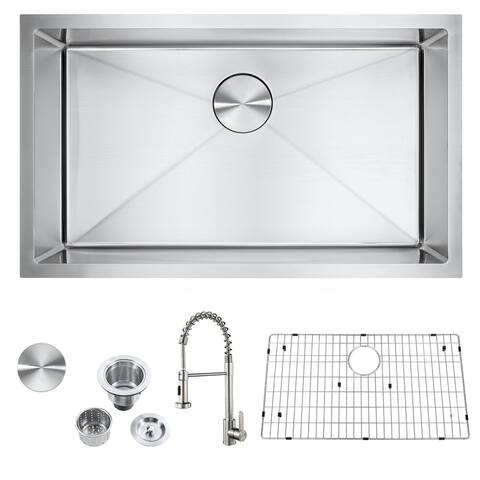 """Akicon 30"""" Undermount Single Bowl Stainless Steel Kitchen Sink with Stainless Steel Pull-down Kitchen Faucet - AK301809R10F"""