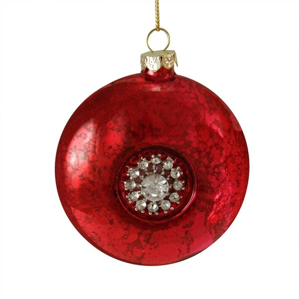 "3.5"" Vintage-Style Red with Gem Snowflake Medallion Glass Disk Christmas Ornament"