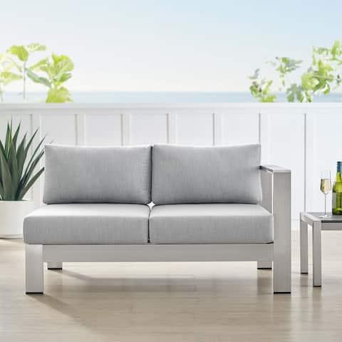Shore Sunbrella® Fabric Aluminum Outdoor Patio Right-Arm Loveseat