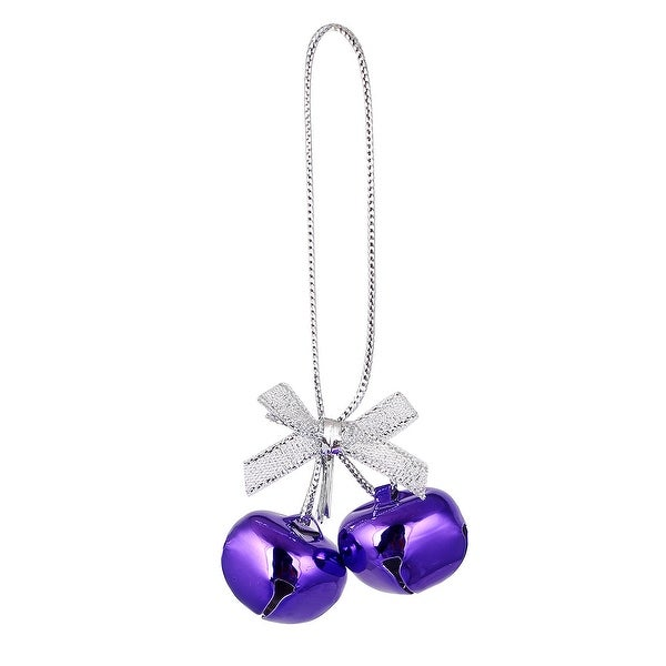 Festival Christmas Tree Metal Bowknot Ring Bell Pendant Hanger Decor Purple