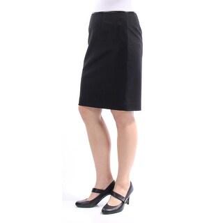 Womens Black Knee Length Pencil Wear To Work Skirt Petites Size 8